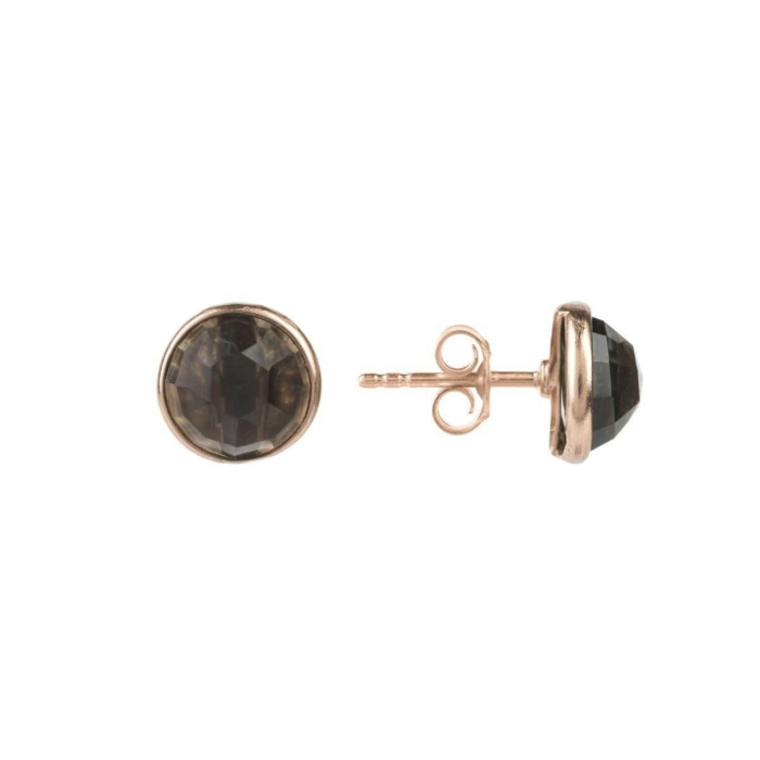 Medium Circle Stud Rose Gold Smoky Quartz