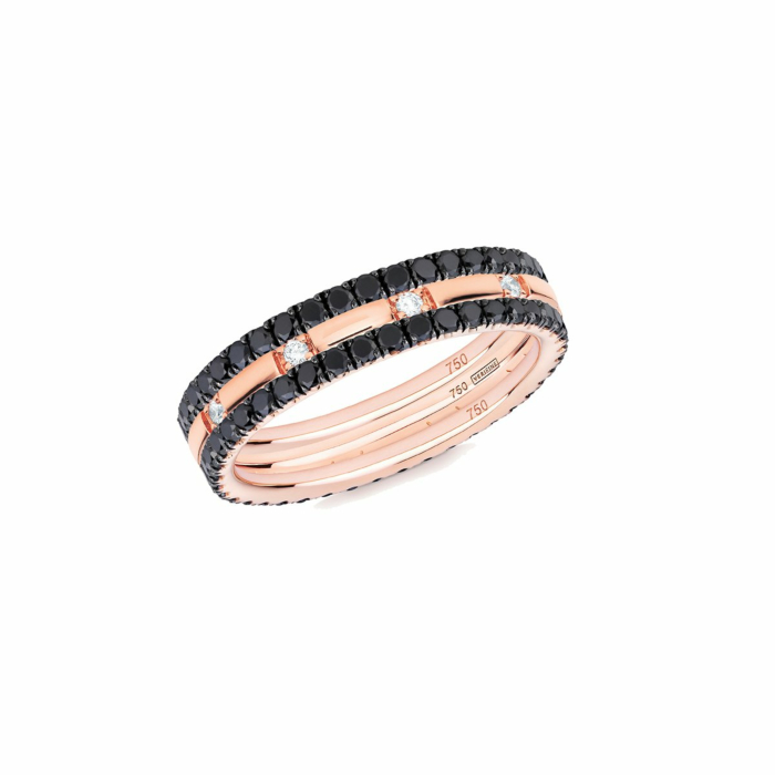 18kt Rose Gold XX 3-Ring Eternity Stack With Black Diamond