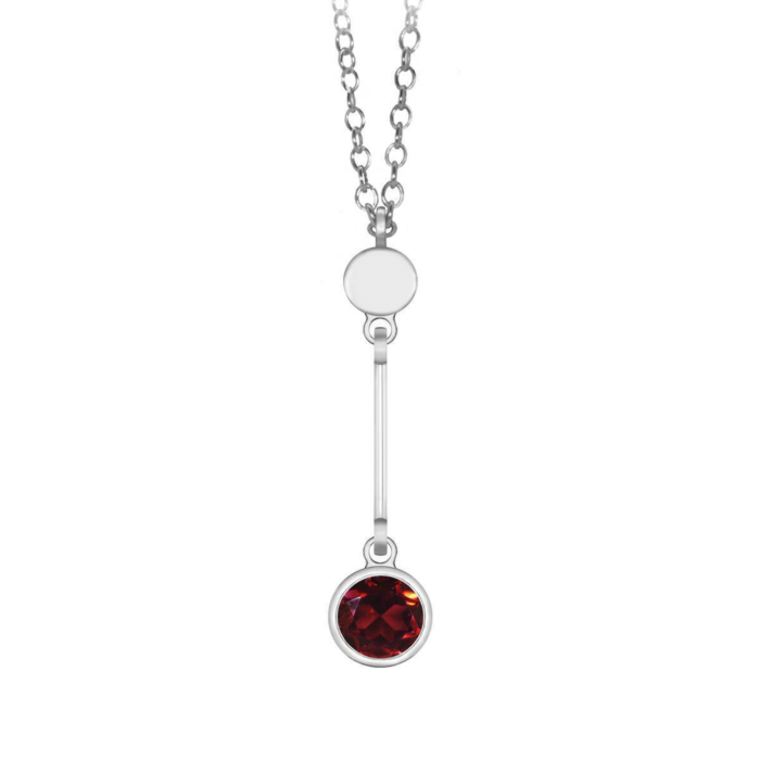 Sparkly Solo Necklace With Garnet