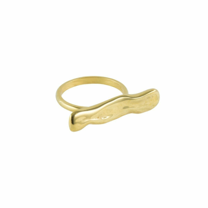 Gold Wave Bar Ring