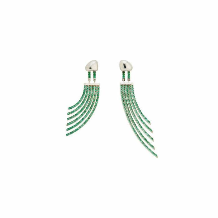 White Gold & Emerald Ilustracin Drop Earrings | Jaime Moreno