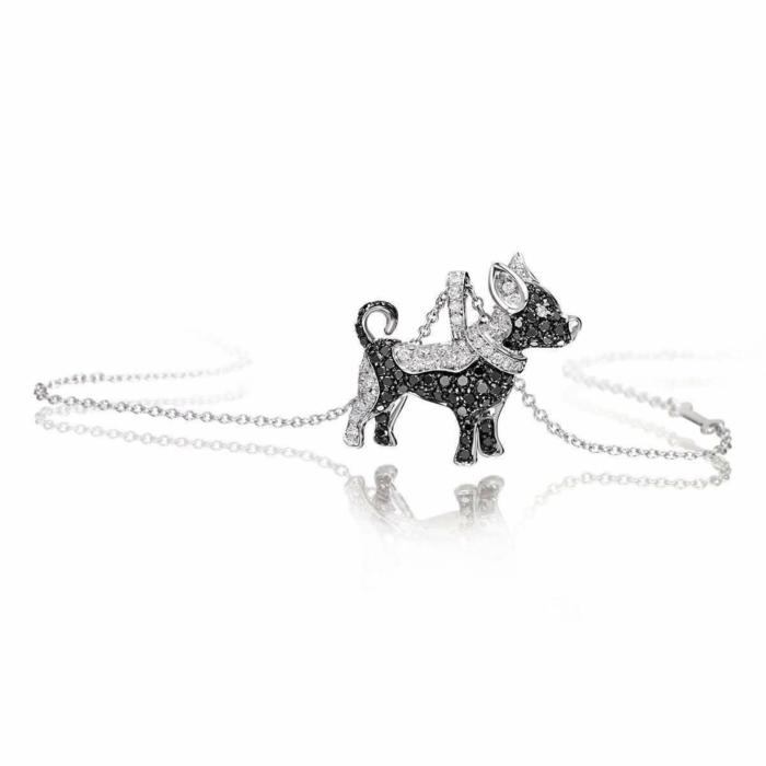 White Gold & Diamond Pet Jewels Collection Chiwawa Necklace   Pinomanna
