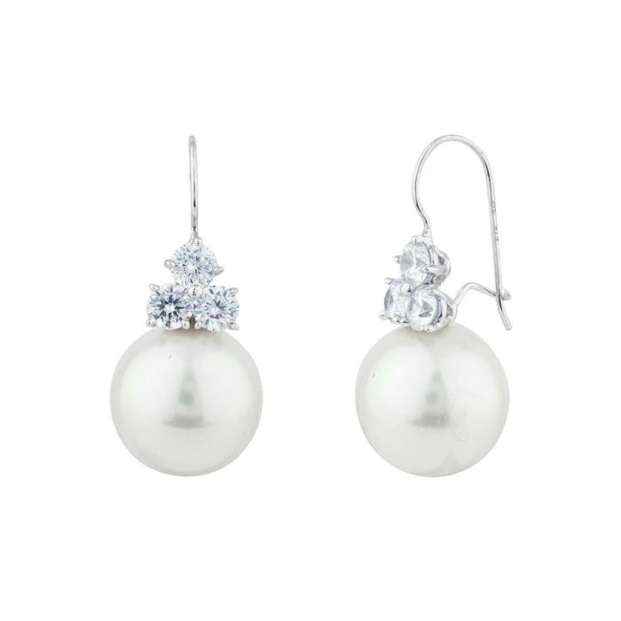 Palladium Plated Pearl Wire Drop Earrings