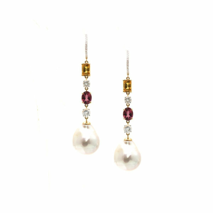 18kt Yellow Gold Earring With White & Yellow Sapphire, Pink Touramline and Diamond
