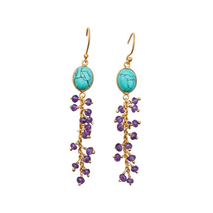 Beaded Howlite & Amethyst Earrings