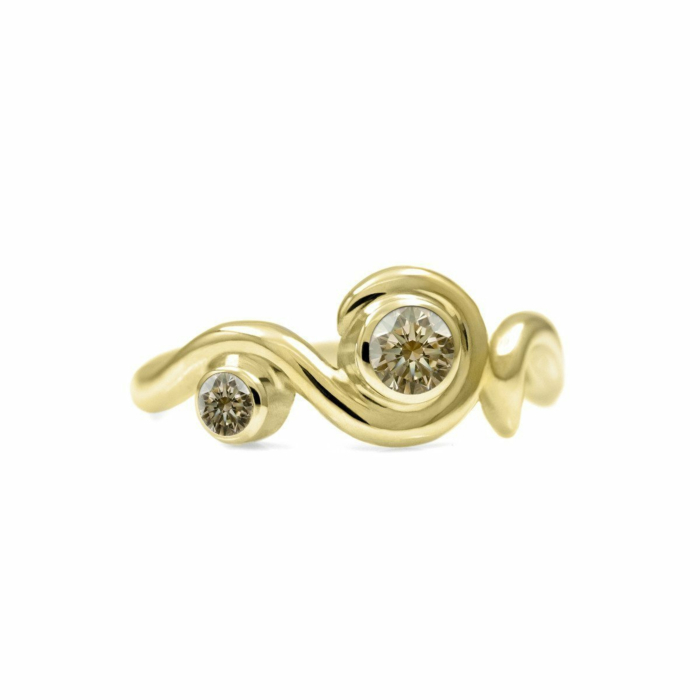 Entwine Two Stone Ring In Gold With Champagne Diamond