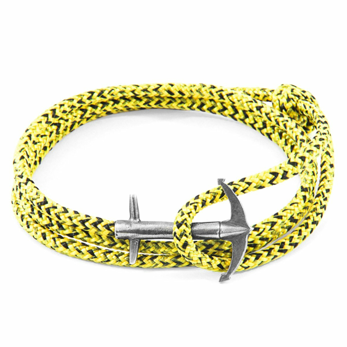 Yellow Noir Admiral Anchor Silver and Rope Bracelet