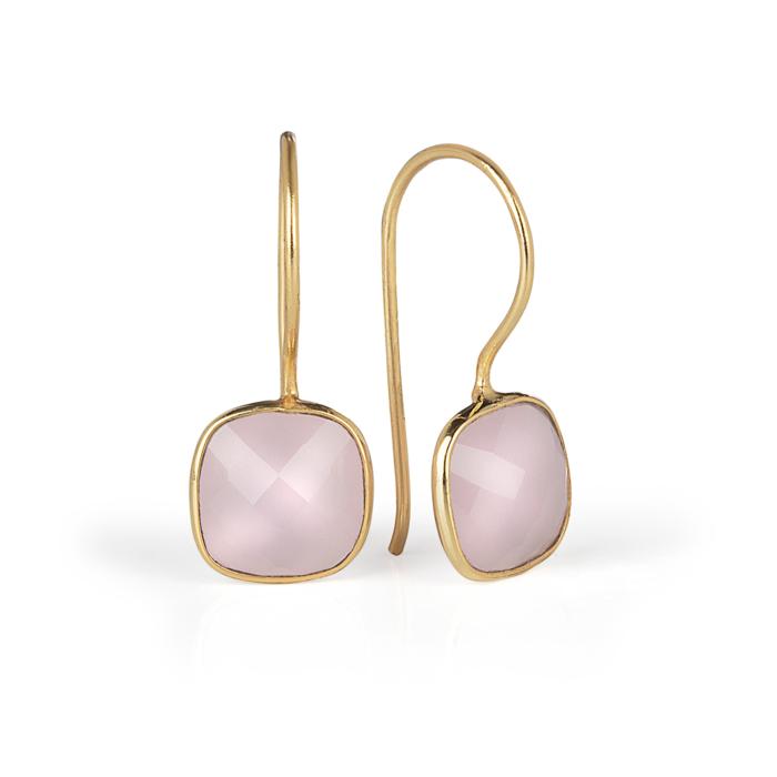 Luminous Gold Rose Quartz Earrings