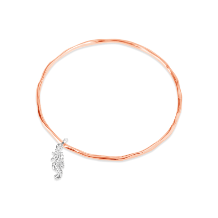 Rose Gold Plated Seahorse Bracelet with Silver Charm