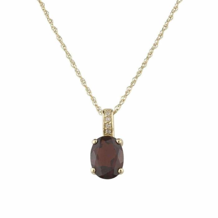14kt Yellow Gold Diamond And Garnet Pendant With Chain - January Birthstone