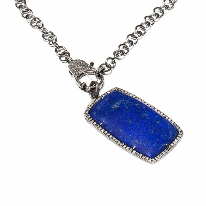 Rhodium Plated Lapis Lazuli Diamond Encrusted Pendant