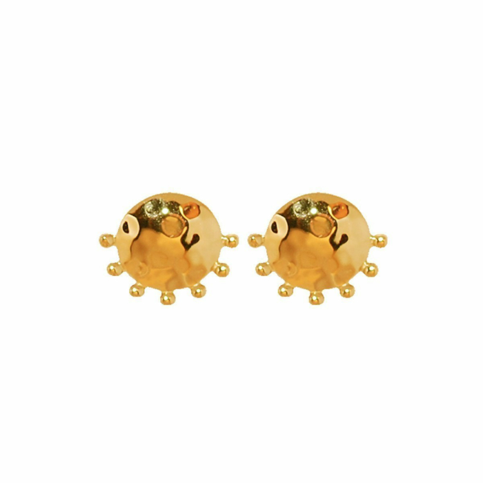 Gold Organic Stud Earrings