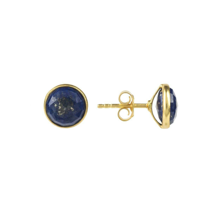 Medium Circle Stud Gold Lapis Lazuli