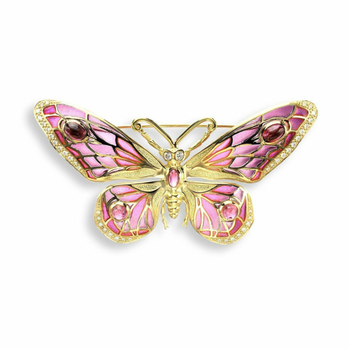 18kt Gold Butterfly Red Brooch