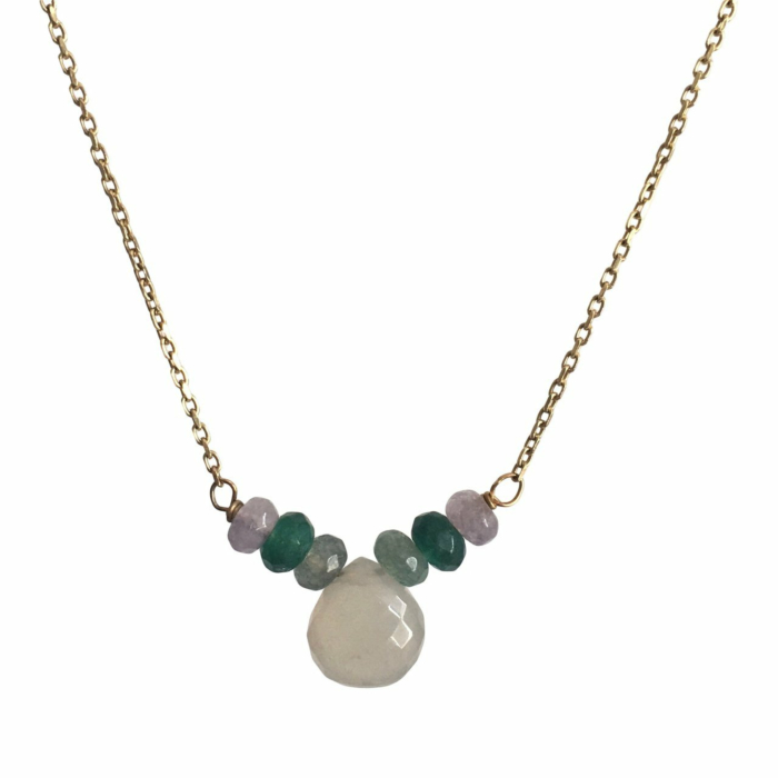 Grey Moonstone Beaded Necklace