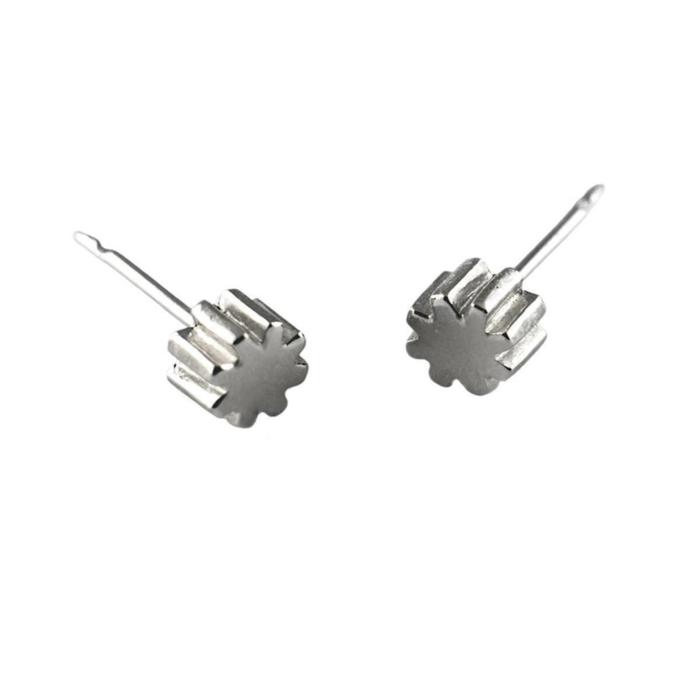 Sterling Silver Little Cog Stud Earrings
