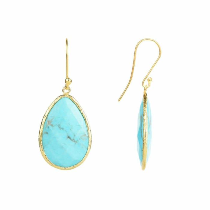 Gold Single Drop Earring in Turquoise