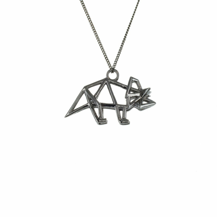 Black Silver Frame Triceratop Origami Necklace