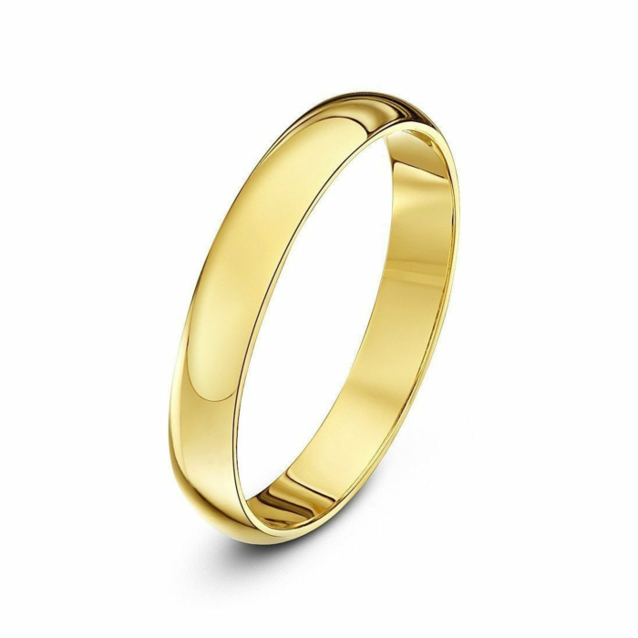 9kt Yellow Gold Extra Heavy D-Shape Wedding Ring