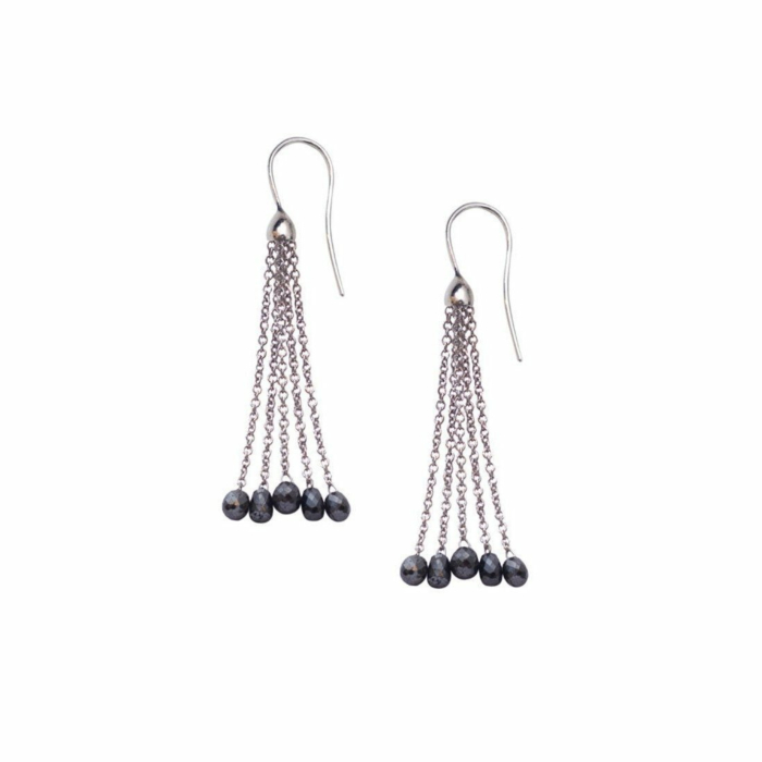 White Gold Black Diamond Tassel Drop Earrings