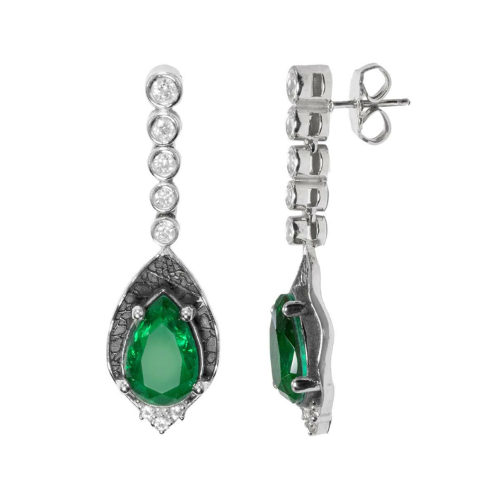 White Rhodium Plated Green Leaves Earrings