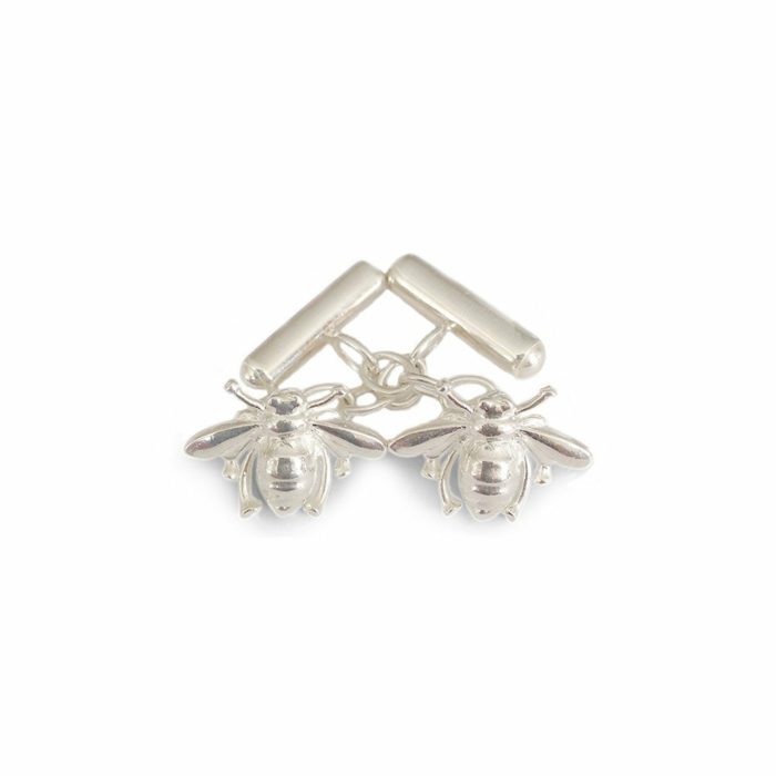Sterling Silver Bee Chain Link Cufflinks