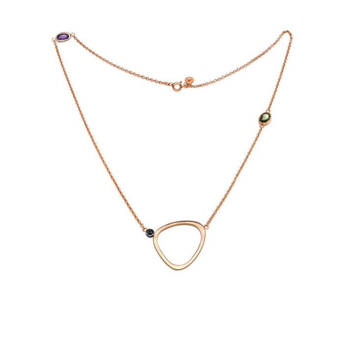 14kt Rose Gold Toyen Necklace With Sapphires & Diamonds