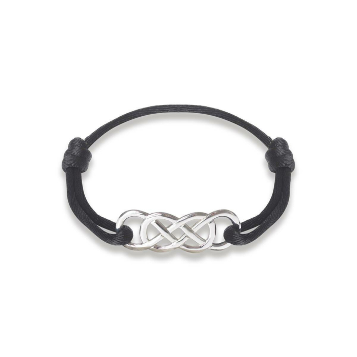 Silver Infinity Ibiza Bracelet With Black Ribbon | INFINITY by Victoria