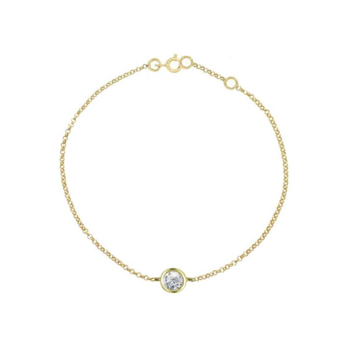 Yellow Gold Solitaire Diamond Raindrop Bracelet