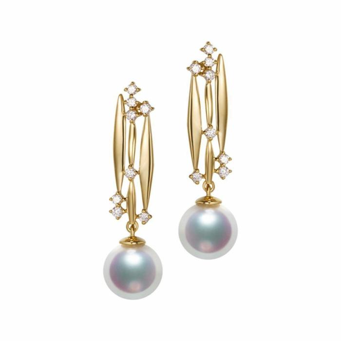 Akoya Pearl Diamond Earrings - 7.5-8.0mm Pearls