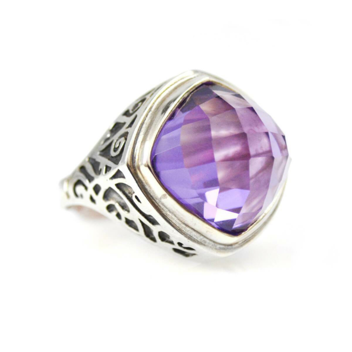 Ring In Sterling Silver And Amethyst
