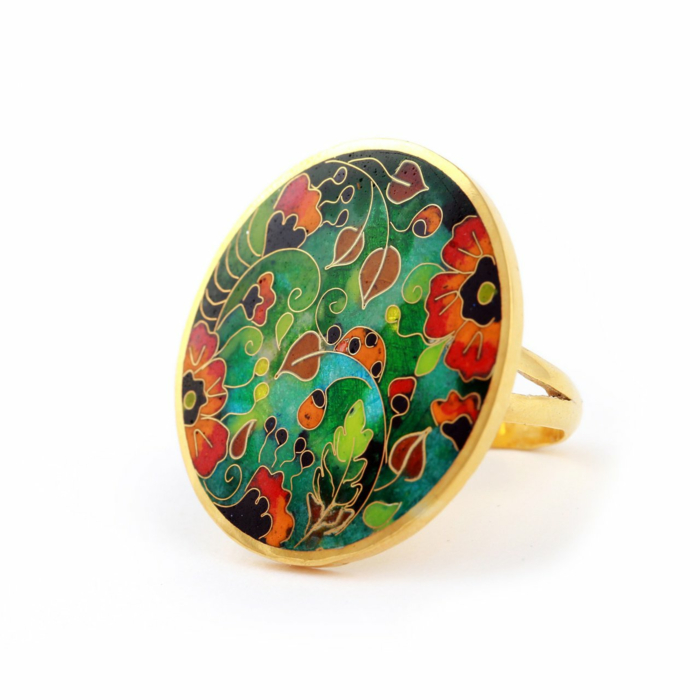 Gold Plated Sunshine Poppies Ring from Sterling Silver with Cloisonn Enamel