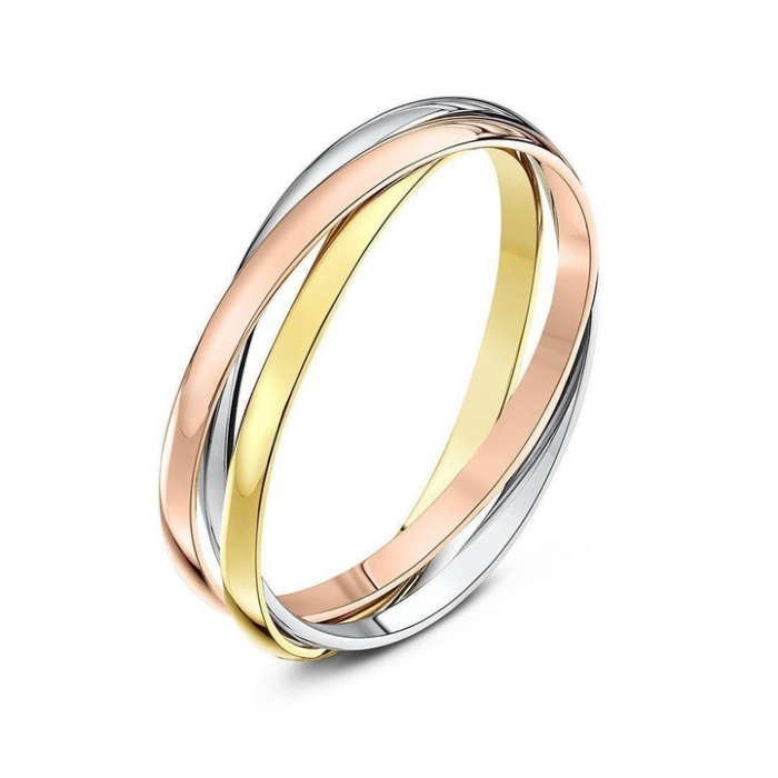 9kt Three Colour Gold Russian Wedding Ring (Available in Various Widths)