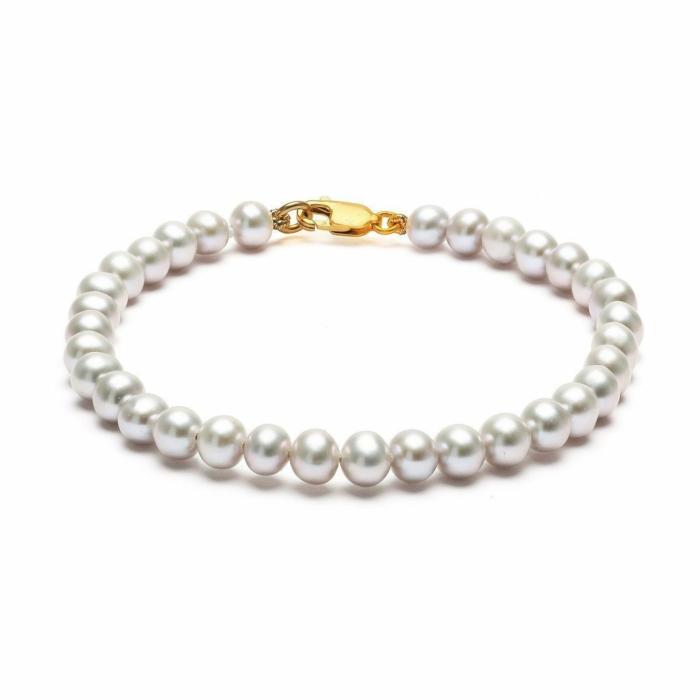Classic 14kt Gold Grey Pearl Bracelet