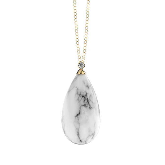 Marble Yellow Gold Plated Pendant Necklace
