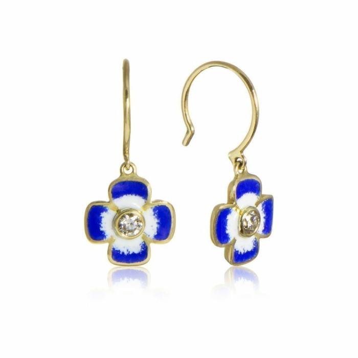 Anthea Diamond and Enamel Flower Earrings