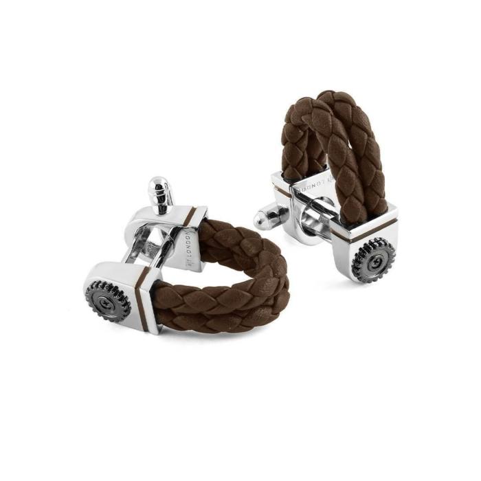 Sterling Silver & Brown Leather Gear Wraparound Cufflinks
