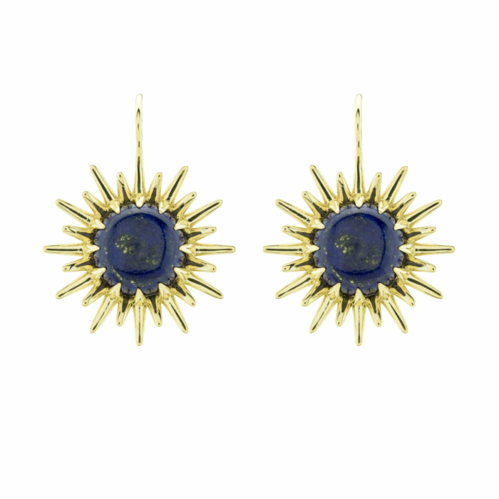 Vermeil Double Sun Drop Earrings With Lapis Lazuli
