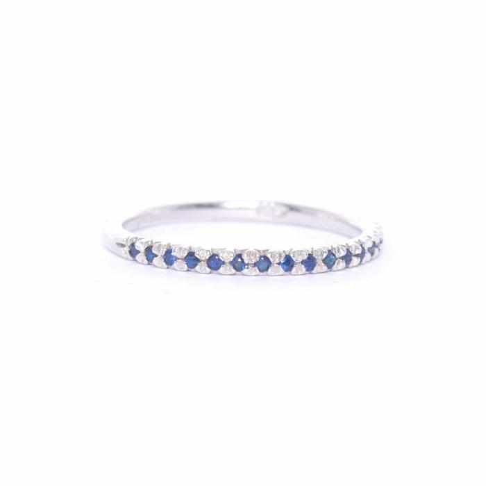 Silver &  Blue Sapphire Demi Pointe Ring