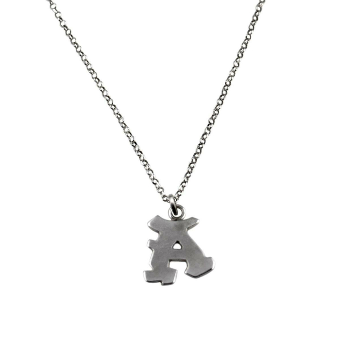 Sterling Silver Graffiti Alphabet Letter Necklace