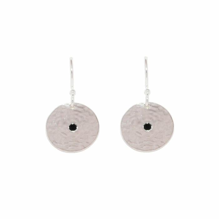Sterling Silver & Black Spinel Grace Small Disc Earrings