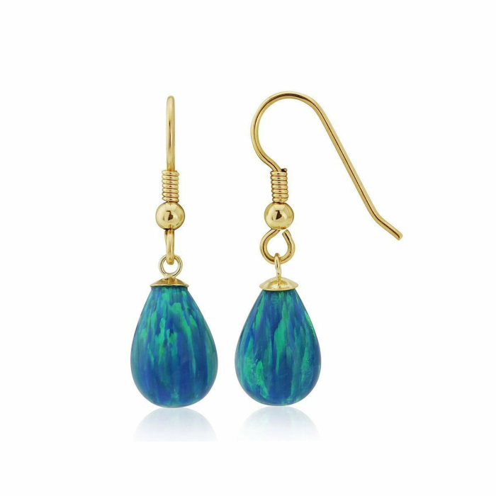 9kt Gold & Large Aqua Opal Teardrop Earrings