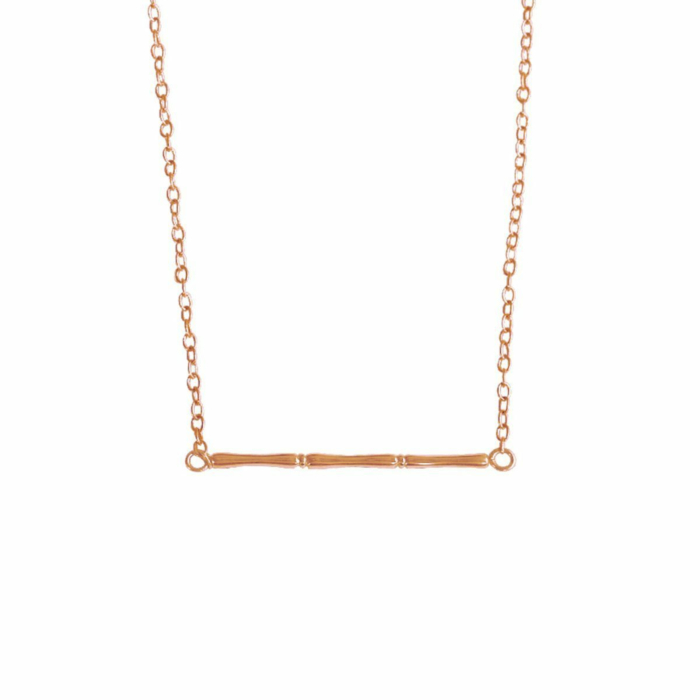 Rose Gold Bamboo Horizontal Necklace