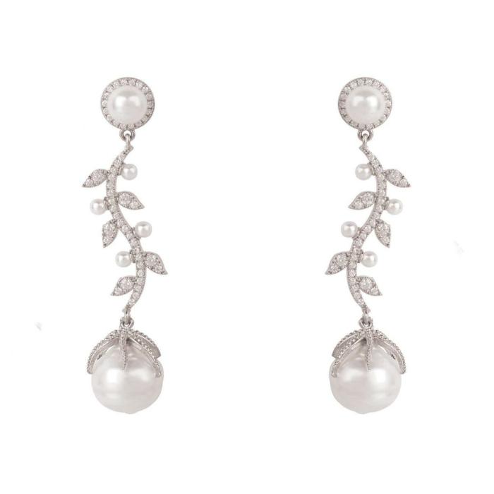 Rhodium Plated Baroque Pearl Trailing Flowers Earrings