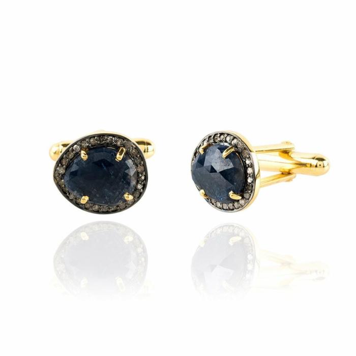 Sapphire Cufflink Gold Diamonds