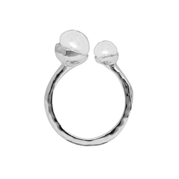 Sterling Silver & Double White Pearl Riveria Ring
