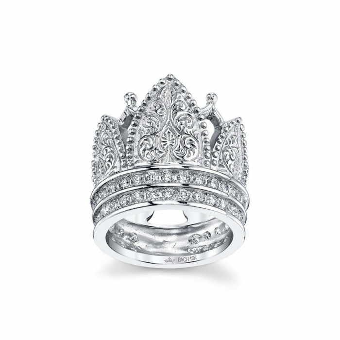 Gothic Crown Ring With Diamonds