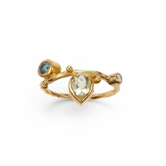 Gold & Blue Sapphire Seafire Ring   Bergsoe