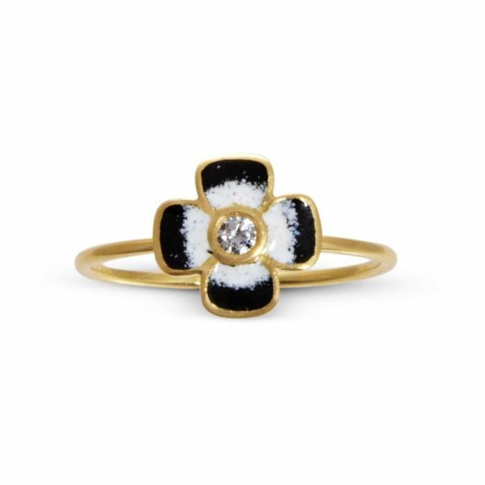 Anthea Diamond and Enamel Flower Ring