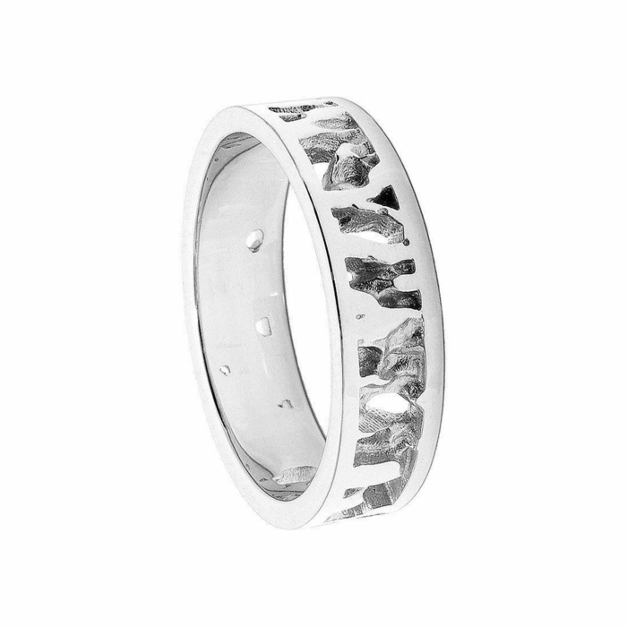 Cornish Seawater Textured Handmade 14kt White Gold Nautical Wedding Ring